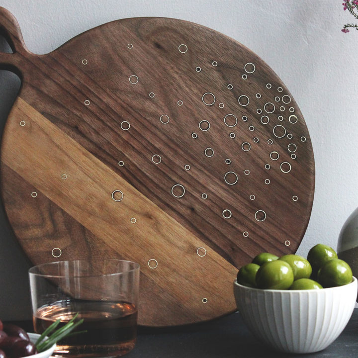 DIY Celestial Wood and Brass Inlay Serving Board