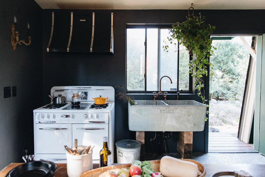 A Vintage Laundry Sink Becomes The Cabin Kitchen Sink In Big Bear On Design*Sponge