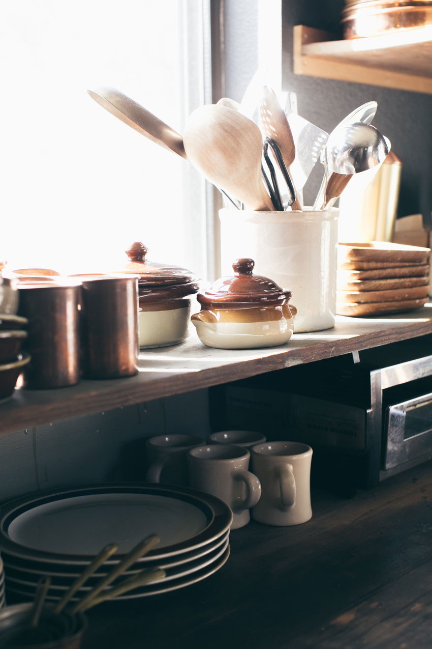 A Collection Of Nearly All Vintage Kitchenware Adorn The Shelves Of This Cabin On Design*Sponge