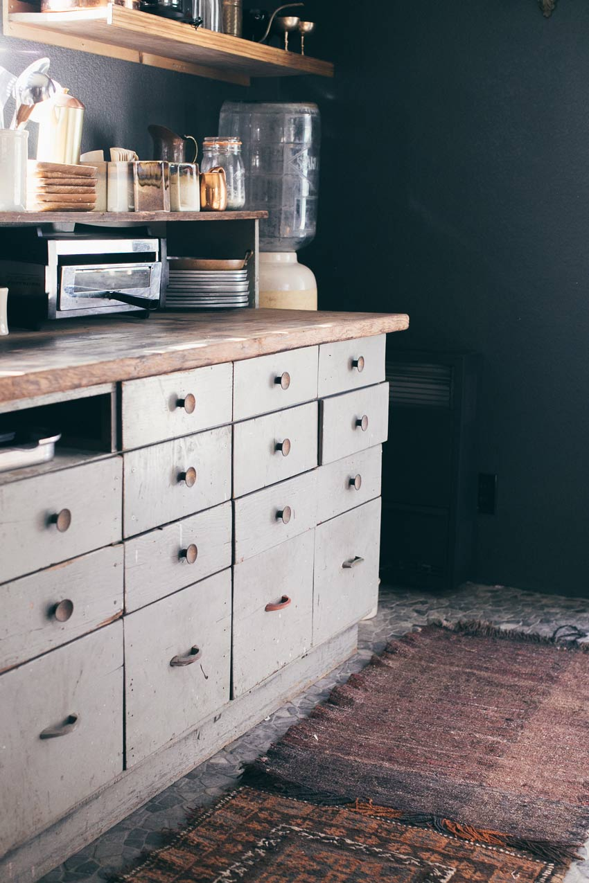 A Vintage Set Of Drawers Becomes Bottom Cupboards In This 1976 Kit Cabin In Big Bear Tour On Design*Sponge