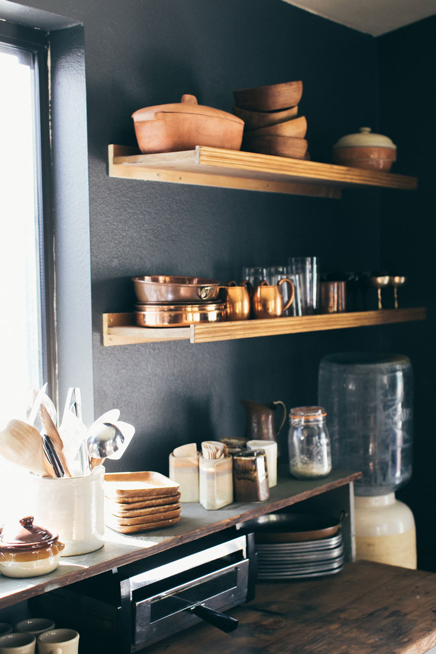 Open Shelves In The Kitchen Balance Out The Larger Lower Cabinet Cabin Tour On Design*Sponge