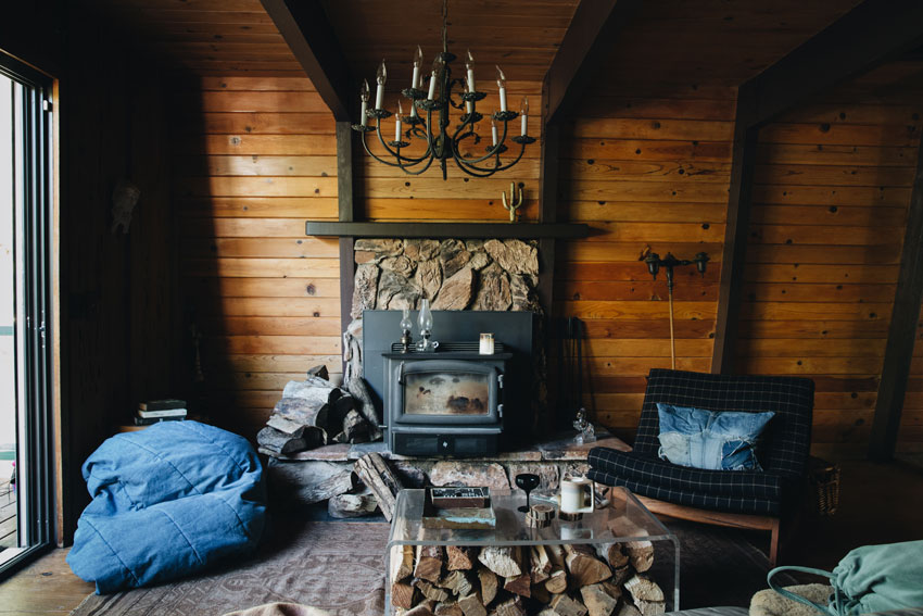 Wood Stove And Fireplace In 1976 Cabin In Big Bear City Tour On Design*Sponge