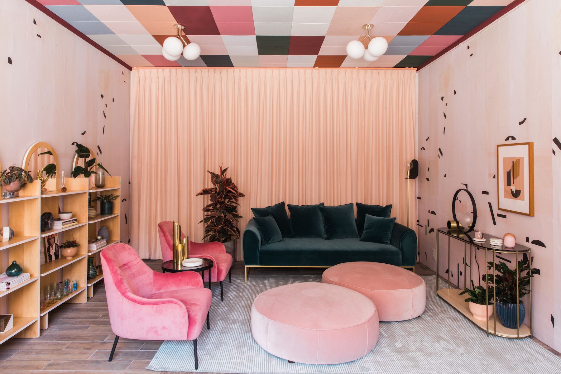 In pasadena an art deco dream with a vibrant checkered ceiling