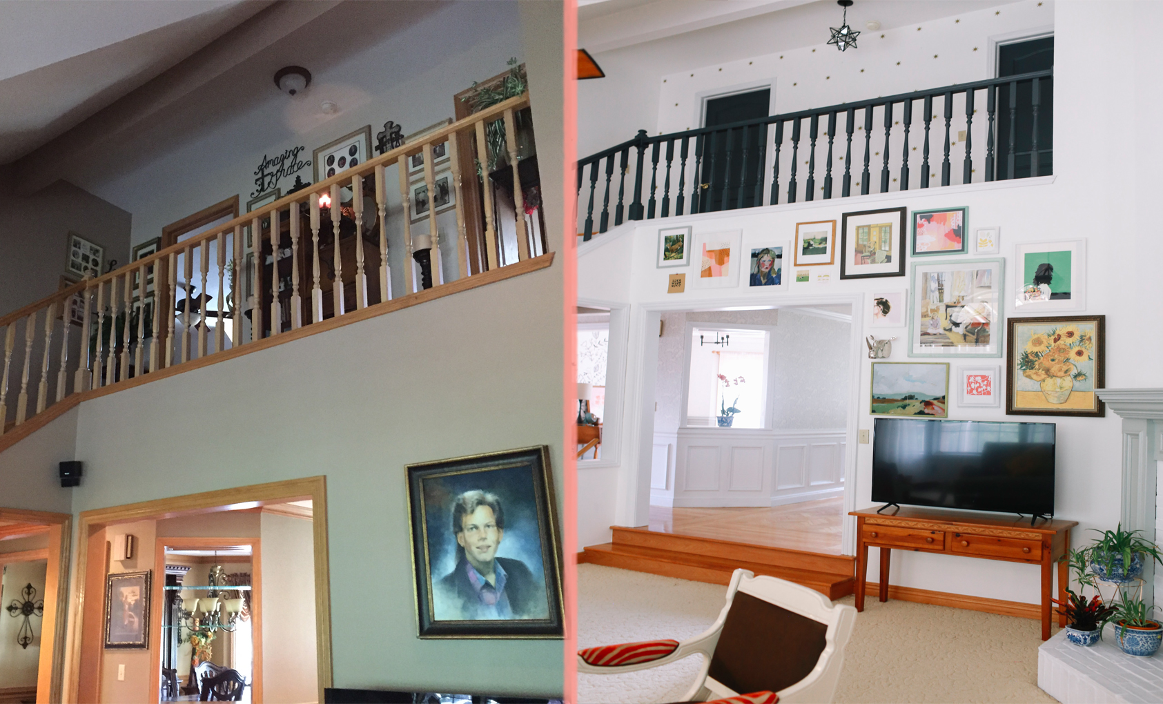 Before After A 1990s Suburban Home Gets A Colorful Makeover Design Sponge