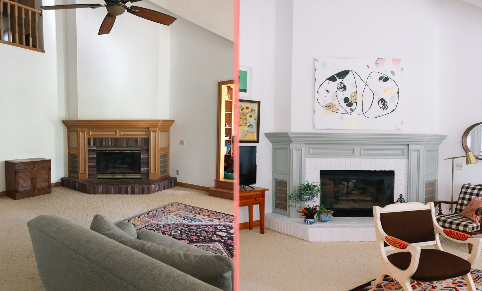 Before & After: A 1990s Suburban Home Gets a Colorful Makeover ... on home painting, home front, home blueprints, home building, home layout, home builders, home ideas, home renovation, home tiny house, home exteriors, home decor, home wallpaper, home plan, home row, home drawing, home furniture, home color schemes, home style, home symbol, home interior,