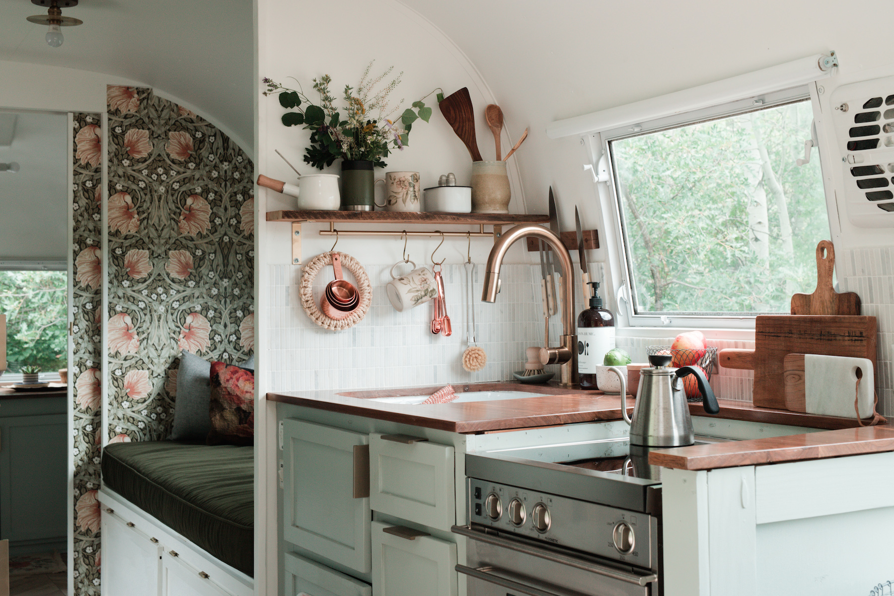 A Dreamy 1962 Airstream Trailer Wallpapered with Florals