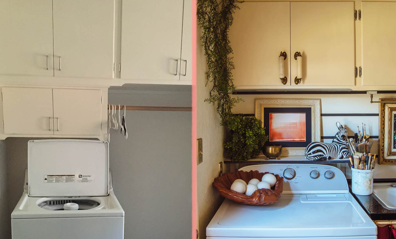 Before & After: An Eclectic Guest Bath & Laundry Room, Design*Sponge