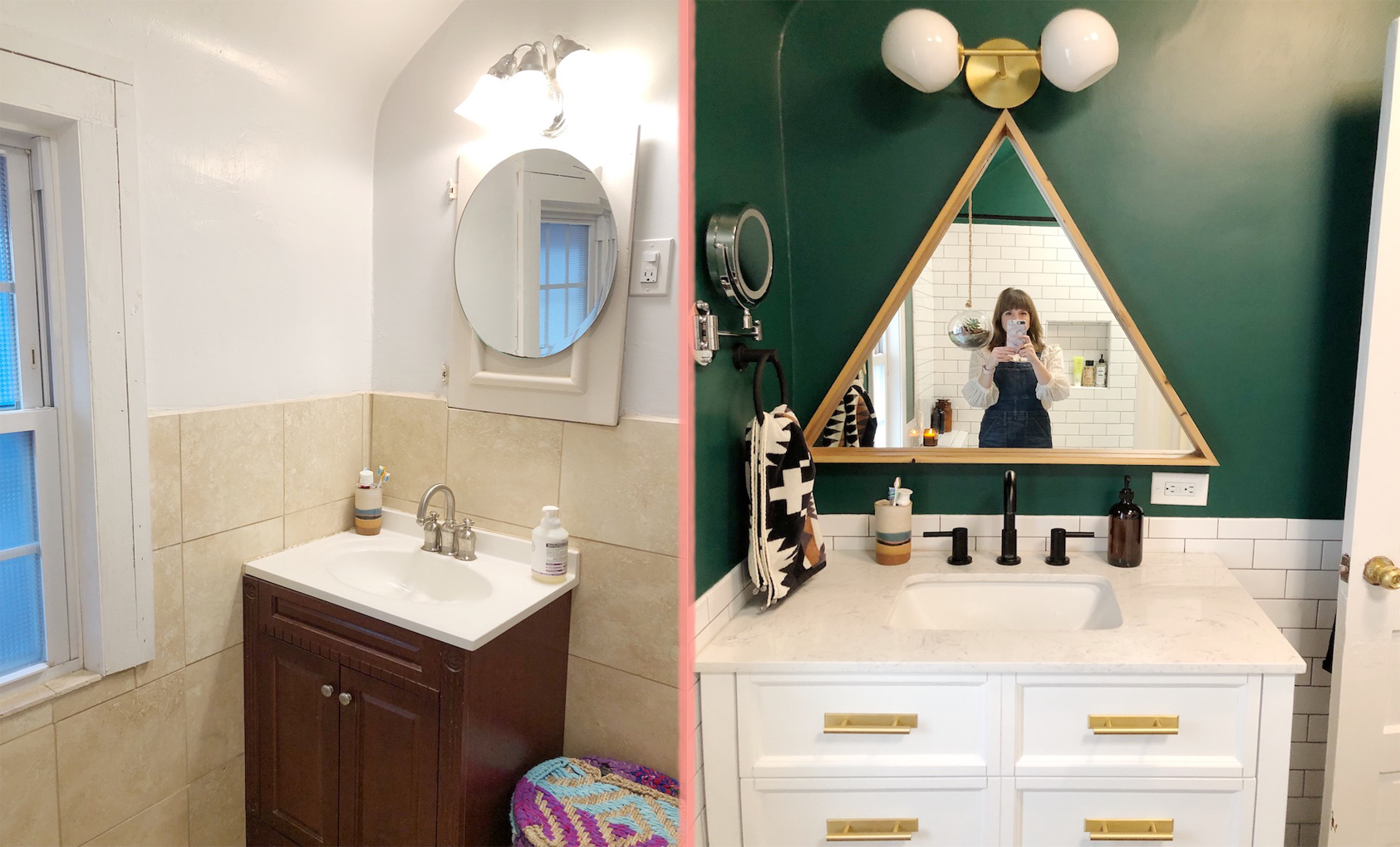 Fabulous Before After A Beige Bathroom Gets A Deep Green Refresh Download Free Architecture Designs Pushbritishbridgeorg