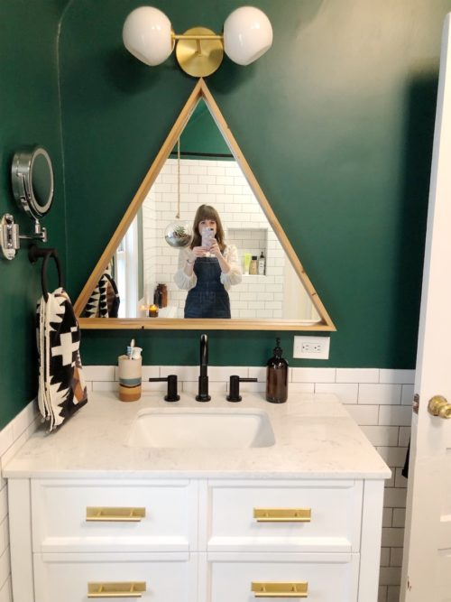 Before & After: A Beige Bathroom Gets A Deep Green Refresh