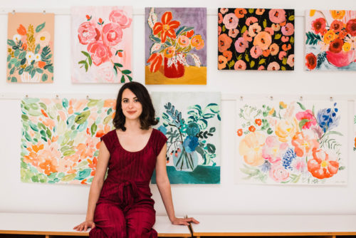 Before & After: A Drab Studio Becomes A Fresh Backdrop for Vibrant Floral Artwork