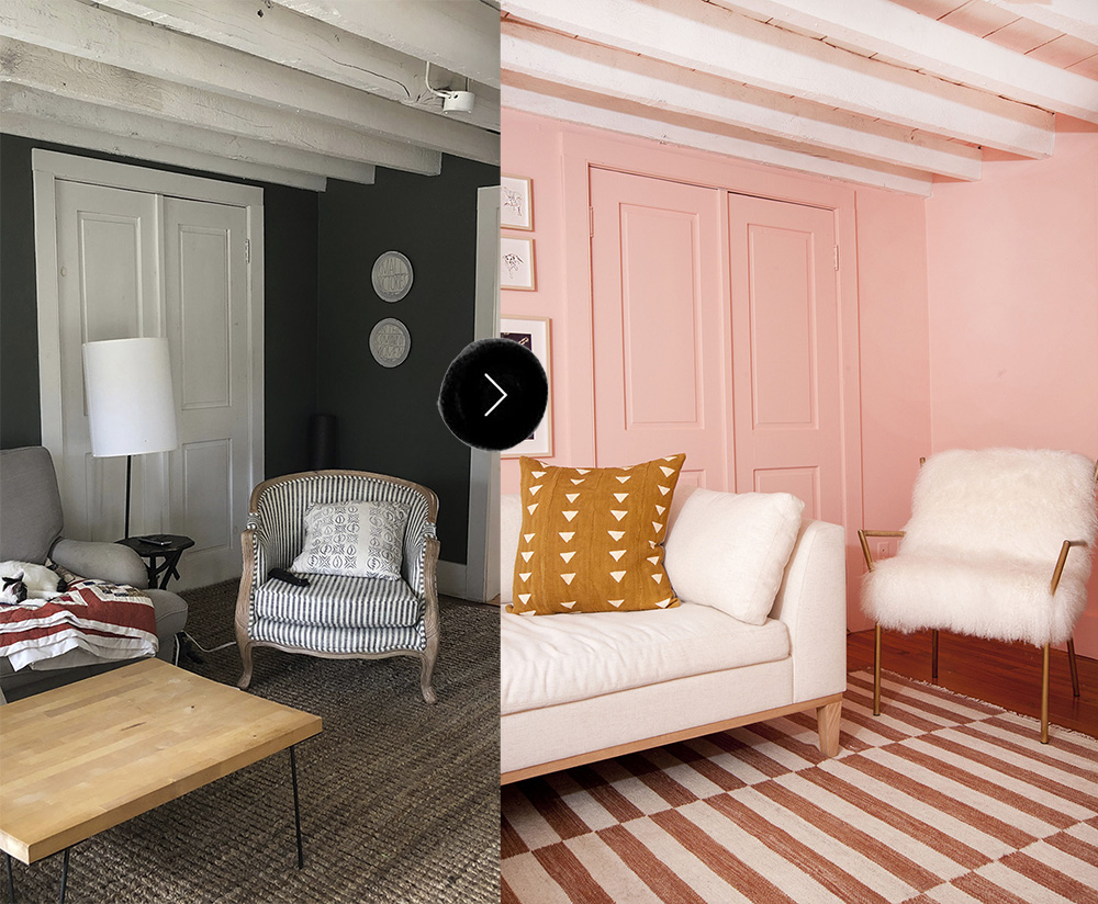 Before & After: Grace and Julia\'s Pink Living Room Makeover ...
