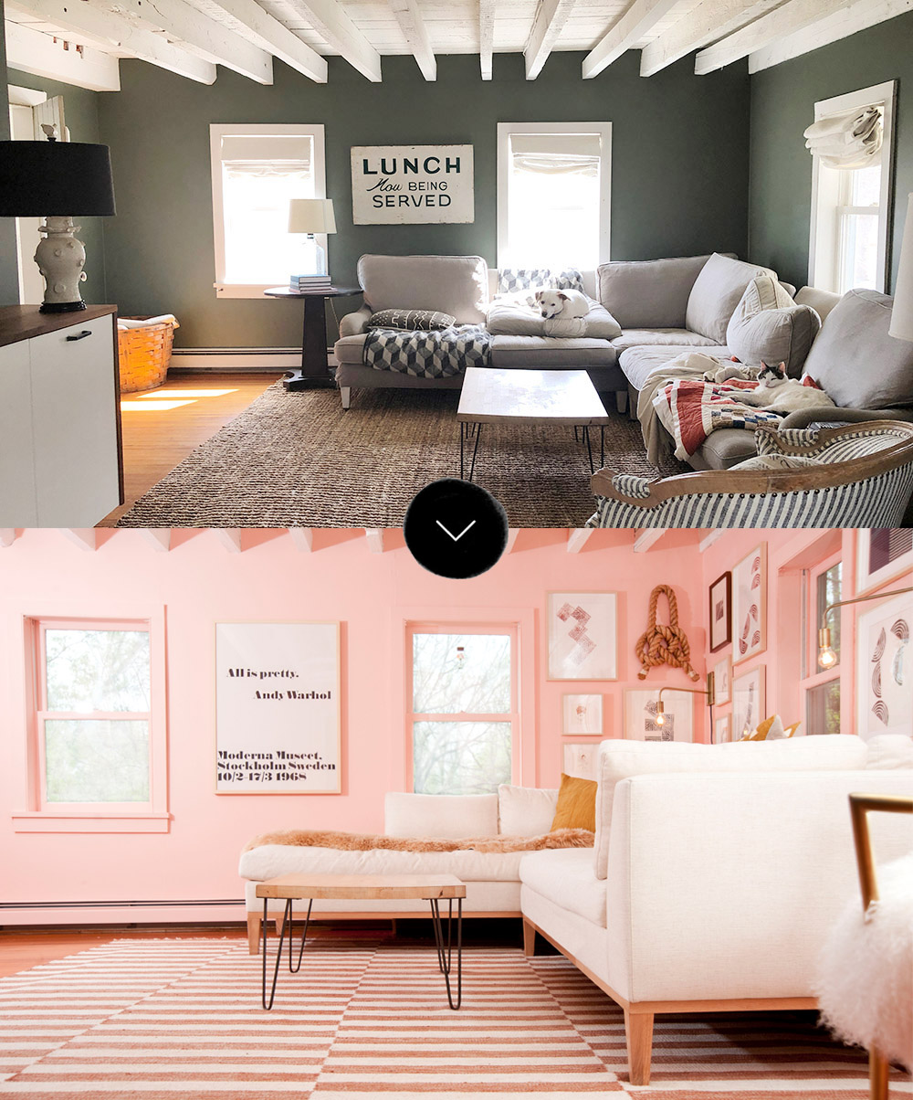 Before & After: Grace And Julia's Pink Living Room